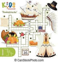 """""""thanksgiving, crucigrama, fácil, day"""", rompecabezas"""