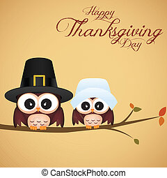 Thanksgiving day - abstract cute owls on special ...