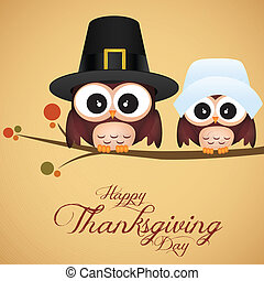 abstract cute owls on special thanksgiving day background