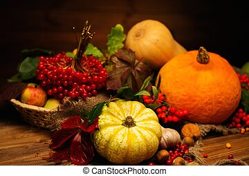 Thanksgiving day autumnal still life