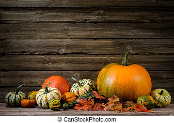 Thanksgiving day autumnal still life with pumpkins on old ...