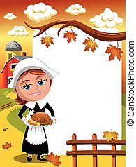 Thanksgiving day background pilgrim woman roast turkey...
