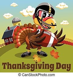 Thanksgiving day background square pilgrim turkey american football countryside