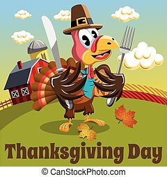 Thanksgiving day background square pilgrim turkey eat fork and knife in the countryside