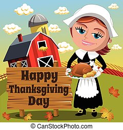 Thanksgiving Day Background Square Pilgrim Woman Traditional Roast Turkey