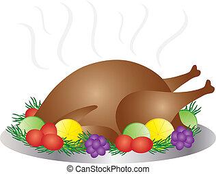 Thanksgiving Day Baked Turkey Dinner Illustration