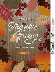 Thanksgiving day banner background. Celebration quotation for card, vector illustration. Autumn season inscription
