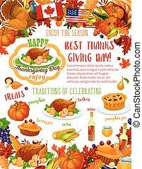 Thanksgiving Day banner, fall harvest celebration
