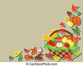 Thanksgiving day ,basket, vector