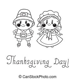 Thanksgiving Day children Pilgrim Couple. Vector...