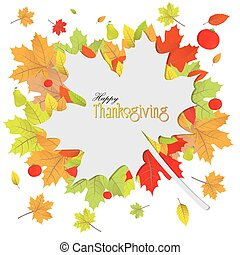 Thanksgiving day - White background with text and leaves for...