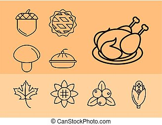thanksgiving day, collection icons hat pumpkin tree acorn food
