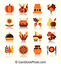 Thanksgiving day color silhouette icon set