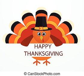 Thanksgiving Day. Colorful cartoon turkey bird.