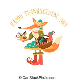 Thanksgiving day. Cute fox with turkey in the basket. Vector...