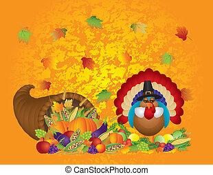 Thanksgiving Day Fall Bountiful Harvest Cornucopia with Turkey Pilgrim Pumpkins Fruits and Vegetables illustration
