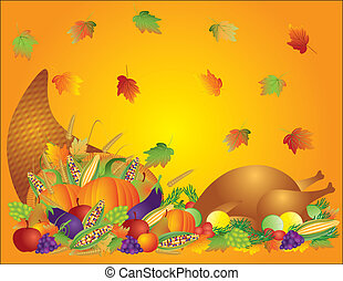 Thanksgiving Day Fall Harvest Cornucopia with Turkey Dinner Feast Pumpkins Fruits and Vegetables illustration