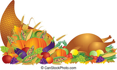 Thanksgiving Day Feast Cornucopia and Turkey Illustration -...