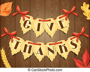 Thanksgiving Day greeting card. Background with autumn lives