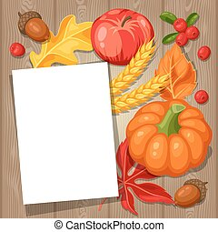 Thanksgiving Day greeting card. Background with copy space and autumn objects