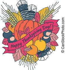 Thanksgiving Day greeting card with spikes, feathers, chestnuts, vegetables and fruits in cartoon style
