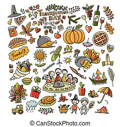 Thanksgiving day, hand drawn sketch for your design