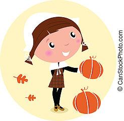 Thanksgiving day, Harvest - Pilgrim Child with pumpkin head