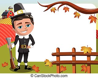 Thanksgiving day horizontal frame pilgrim hunter posing...