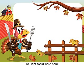 Thanksgiving day horizontal frame pilgrim turkey eating fork...