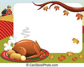 Thanksgiving day horizontal frame roast turkey countryside