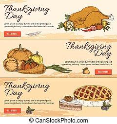 Thanksgiving Day Horizontal Hand Drawn Banners