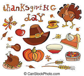 Thanksgiving day icon set