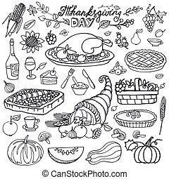 Thanksgiving day icons, doodle food set. Autumn harvest ...