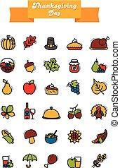 Thanksgiving Day icons set. Harvest