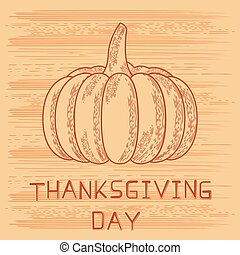 Thanksgiving Day in United States of America, Canada. Pumpkin, event name. Style of engraving