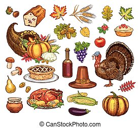 Thanksgiving day isolated vector icons set - Thanksgiving...
