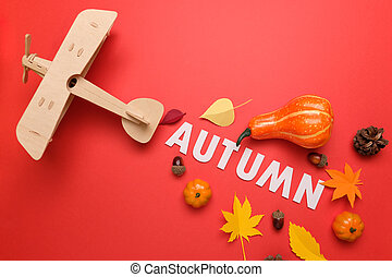 Thanksgiving day. Lettering autumn with autumn elements. Thanksgiving concept, greeting card.
