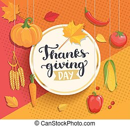 Thanksgiving day lettering on geometric background