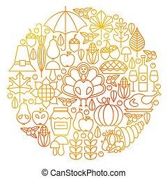 Thanksgiving Day Line Icon Circle Design