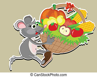 Thanksgiving day, mouse with basket