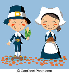 Thanksgiving Day Pilgrim Couple - Pilgrim couple holding...