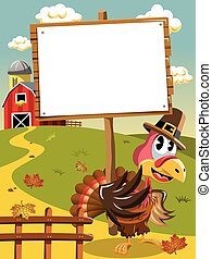 Thanksgiving day pilgrim turkey blank wooden banner -...