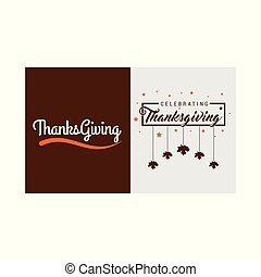 Thanksgiving Day Poster. Greeting Card. Brown and Grey on White Background