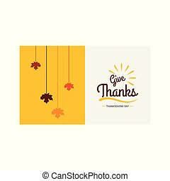 Thanksgiving Day Poster. Greeting Card. Yellow and Grey on White Background