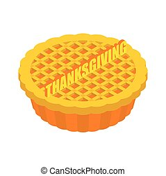 Thanksgiving day Pumpkin Pie isolated. Vintage Cake . Food for national holiday