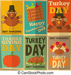 Thanksgiving Day. Retro Posters Collection with Cartoon Turkey. Vector Illustration.