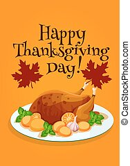 Thanksgiving Day roasted turkey greeting design
