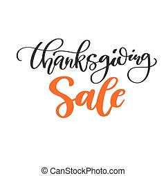 Thanksgiving day Sale vector card with handwritten...