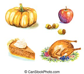 thanksgiving day set with roasted turkey, grape, pumpkin, acorns, apple, pie. watercolor vector illustration