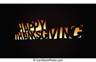 Thanksgiving day text banner, orange text on black background, national USA and Canada holiday, vector illustration.